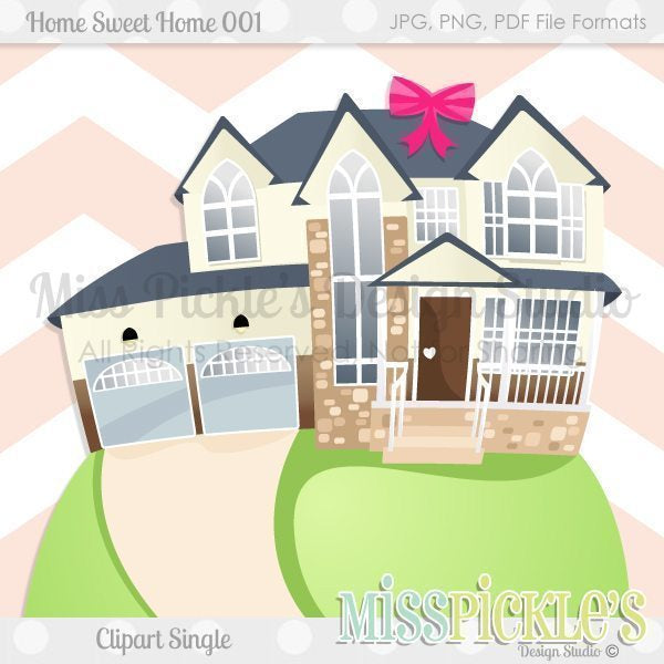 Home Sweet Home 001- Clipart Single  Miss Pickles Design Studio    Mygrafico