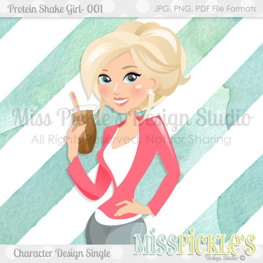 Protein Shake Girl 001- Blonde Pink, Character Design  Miss Pickles Design Studio    Mygrafico