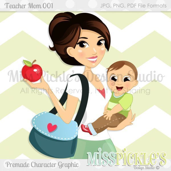 Teacher Mom 001- Character Design  Miss Pickles Design Studio    Mygrafico