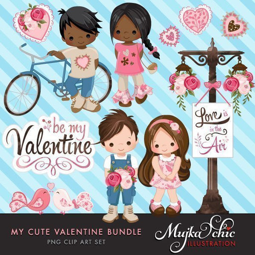 My Cute Valentine Clip Art and Invitation Bundle with Cute Characters  Mujka Chic    Mygrafico