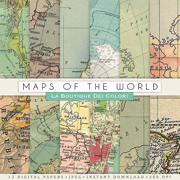 Maps of the World Digital Papers  La Boutique Dei Colori    Mygrafico