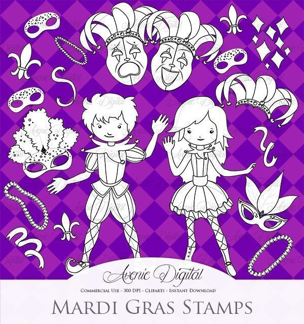 Mardi Gras Digital Stamps  Avenie Digital    Mygrafico