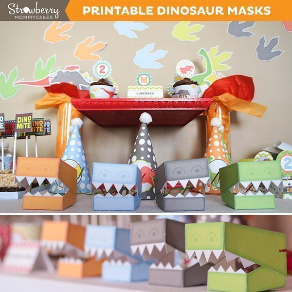 DIY DINOmite Dinosaur Masks Party Printable Templates Strawberry Mommycakes    Mygrafico