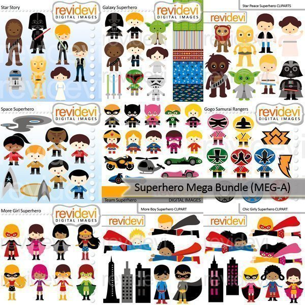 Superhero Clip art Mega Bundle  Revidevi    Mygrafico