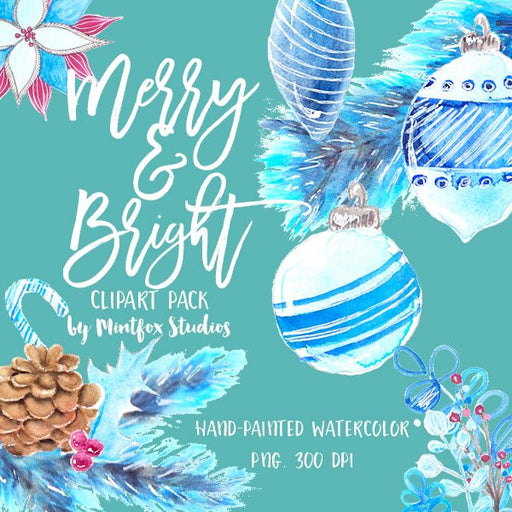 Merry and Bright Watercolor Clipart Pack Clipart Mintfox Studios    Mygrafico