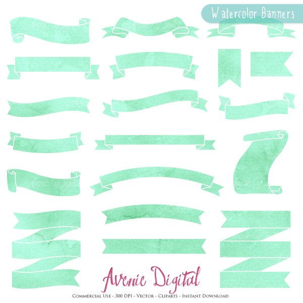 Mint Watercolor Ribbon Banner Clipart  Avenie Digital    Mygrafico