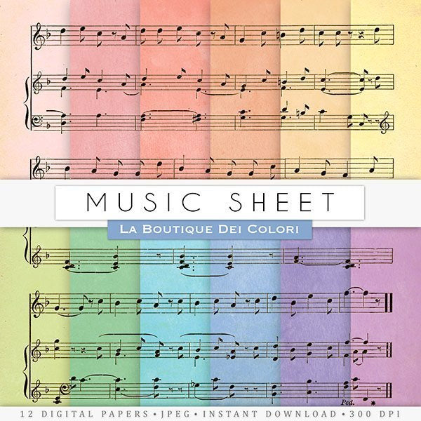 Music Sheet Digital Paper  La Boutique Dei Colori    Mygrafico