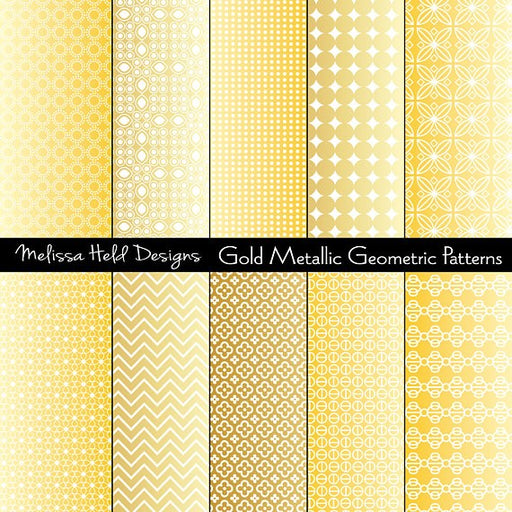 Gold Metallic Geometric Patterns Digital Paper & Backgrounds Melissa Held Designs    Mygrafico