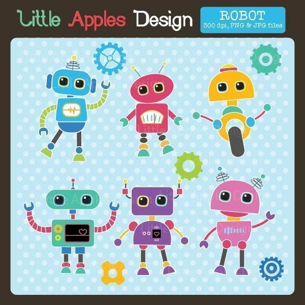 Robot Clipart  Little Apples Design    Mygrafico