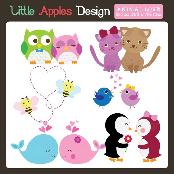 Animal Valentine Love Clipart  Little Apples Design    Mygrafico