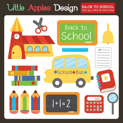 Back To School Clipart  Little Apples Design    Mygrafico