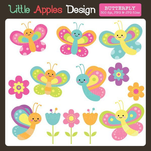 Butterfly Clipart  Little Apples Design    Mygrafico