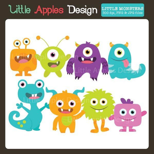 Little Monsters Clipart  Little Apples Design    Mygrafico