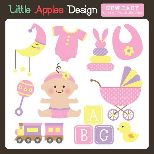 New Baby Girl Clipart  Little Apples Design    Mygrafico