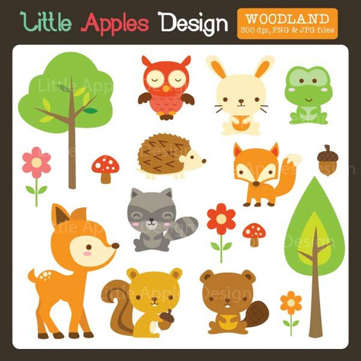 Woodland Clipart  Little Apples Design    Mygrafico