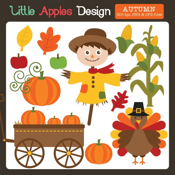 Autumn Clipart  Little Apples Design    Mygrafico