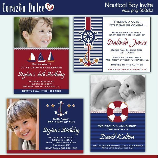 NAUTICAL BOY INVITES  Corazón Dulce    Mygrafico