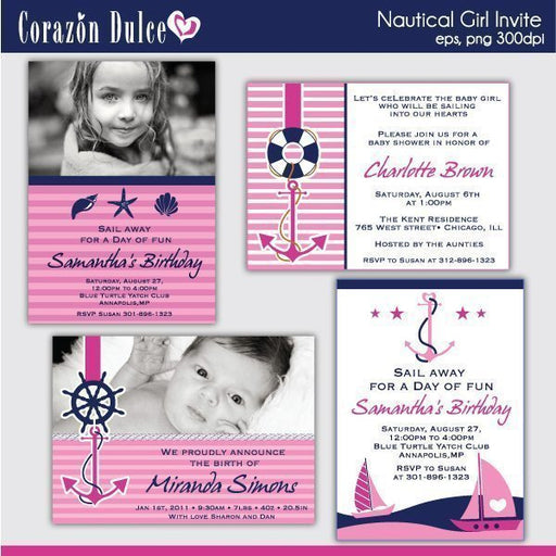 NAUTICAL GIRL INVITES  Corazón Dulce    Mygrafico