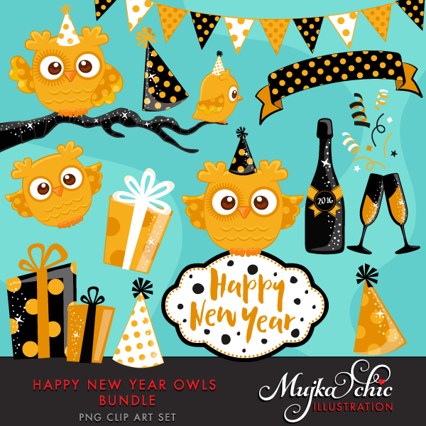 New Year Owls Bundle Clipart  Mujka Chic    Mygrafico