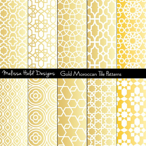 Gold Moroccan Patterns Digital Paper & Backgrounds Melissa Held Designs    Mygrafico