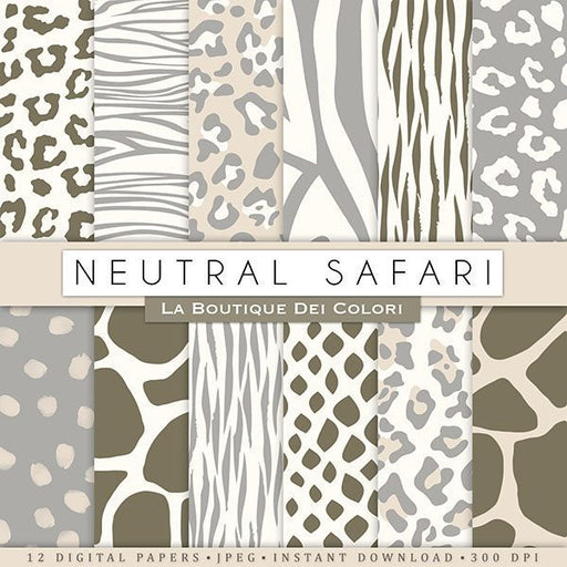 Neutral Animal Prints Digtal Papers Digital Paper & Backgrounds La Boutique Dei Colori    Mygrafico