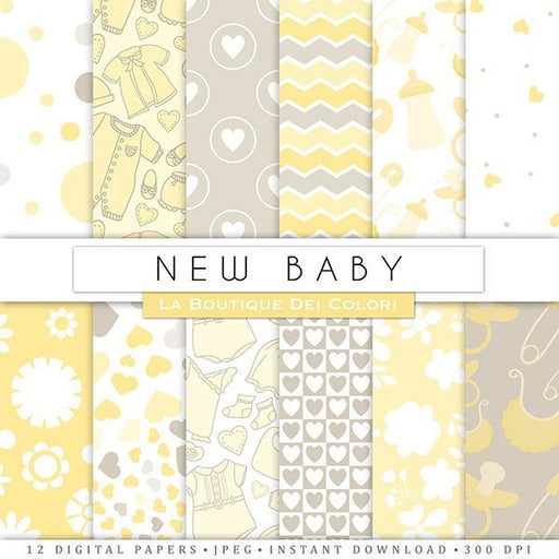 Yellow New Baby Digital Papers  La Boutique Dei Colori    Mygrafico
