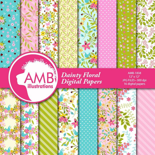 Shabby Chic paper, floral Digital Papers, Country floral, wedding paper, floral pattern, scrapbook paper, commercial use, AMB-1838 Digital Paper & Backgrounds AMBillustrations    Mygrafico