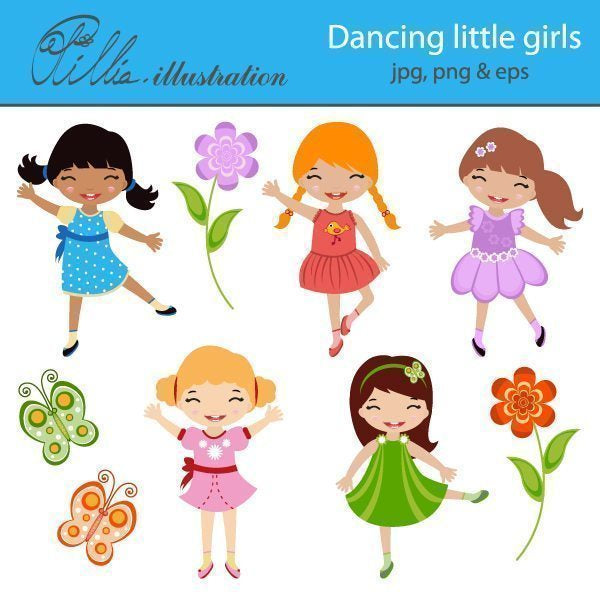 Dancing little girls clipart  Olillia Illustration    Mygrafico