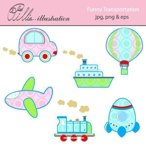 Funny transportation clipart  Olillia Illustration    Mygrafico