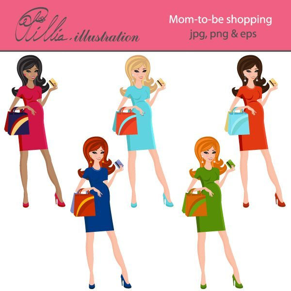 Mom to be shopping clipart  Olillia Illustration    Mygrafico