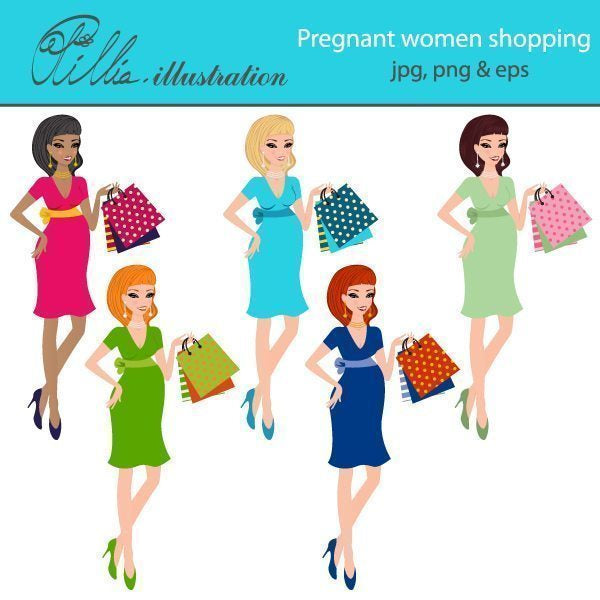 Pregnant women shopping clipart  Olillia Illustration    Mygrafico