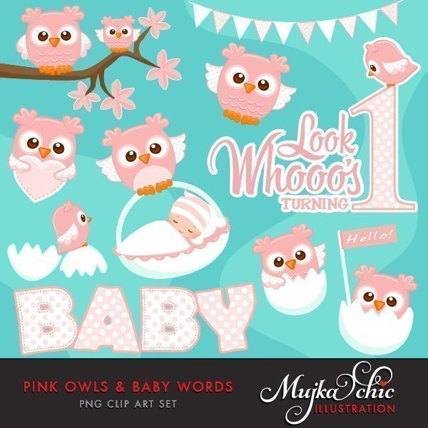 Pink Owls & Baby Words Clipart  Mujka Chic    Mygrafico