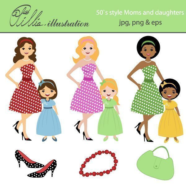 50`s style moms and daughters clipart  Olillia Illustration    Mygrafico