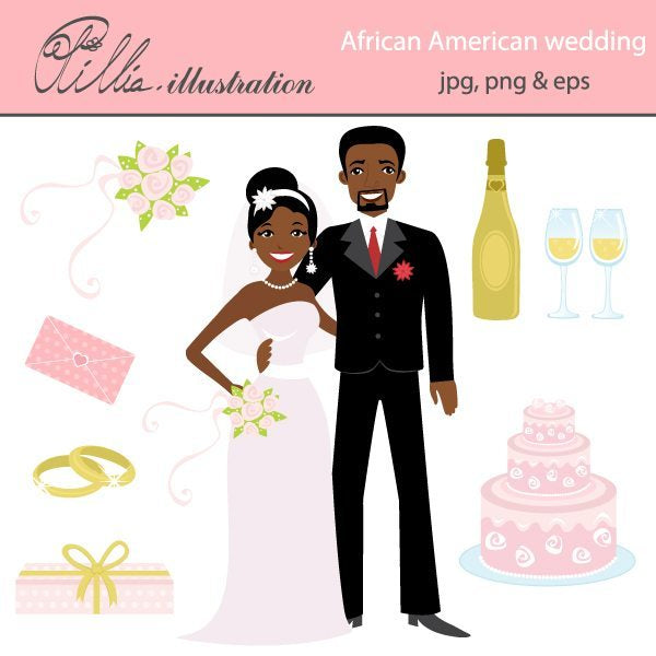 African American wedding  Olillia Illustration    Mygrafico