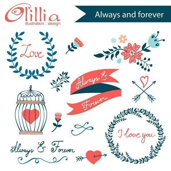 Always and forever clipart  Olillia Illustration    Mygrafico