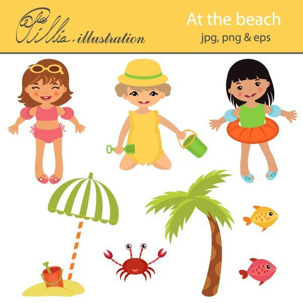 At the beach  Olillia Illustration    Mygrafico