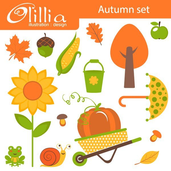 Autumn colors clipart  Olillia Illustration    Mygrafico