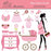 Baby shower in pink clipart  Olillia Illustration    Mygrafico