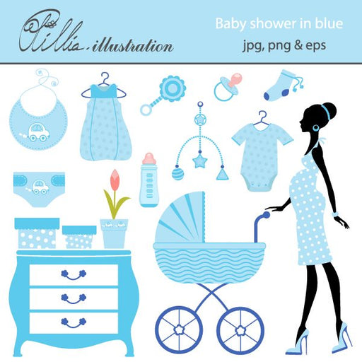 Baby shower in blue clipart  Olillia Illustration    Mygrafico