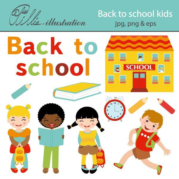 Cute back to school kids  Olillia Illustration    Mygrafico