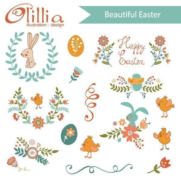 Beautiful Easter set  Olillia Illustration    Mygrafico