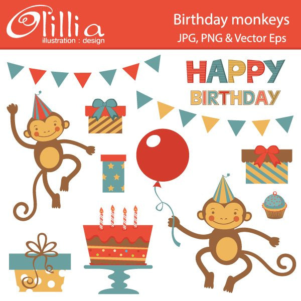 Birthday monkeys clipart  Olillia Illustration    Mygrafico