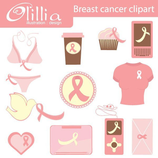 Breast cancer clipart  Olillia Illustration    Mygrafico