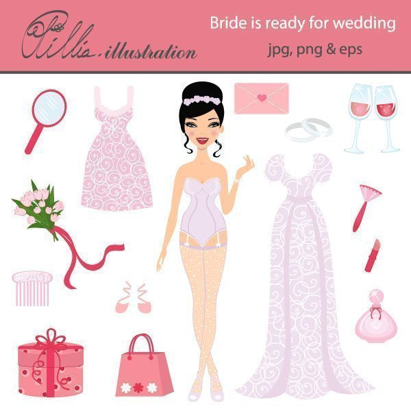 Bride is ready for wedding clipart  Olillia Illustration    Mygrafico