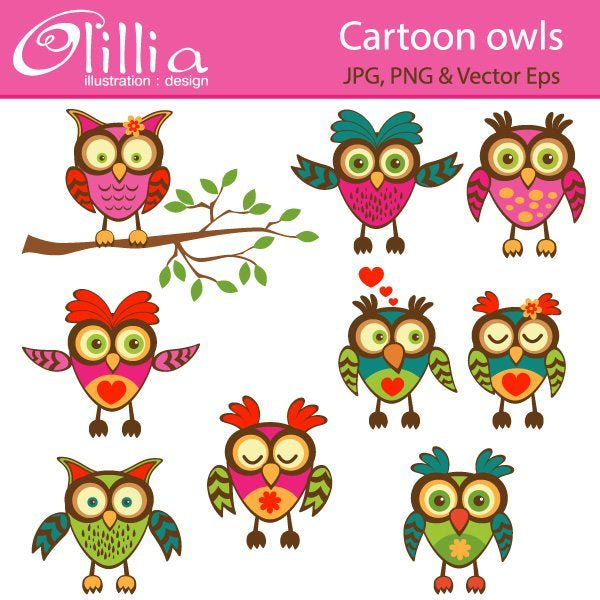 Cartoon Owls clipart  Olillia Illustration    Mygrafico