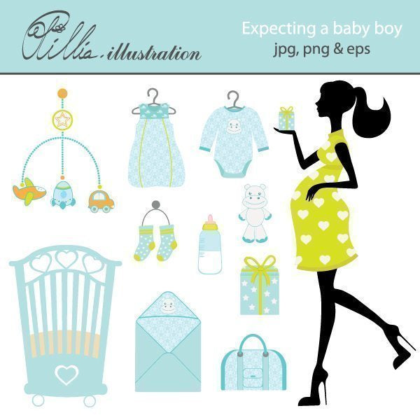 Expecting a babyboy clipart Cliparts Olillia Illustration    Mygrafico