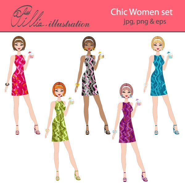 Chic women set clipart  Olillia Illustration    Mygrafico