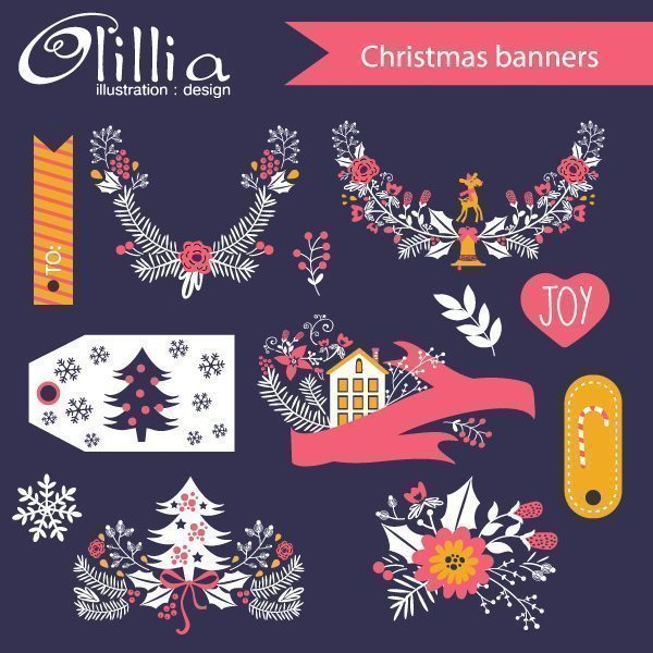 Christmas banners set  Olillia Illustration    Mygrafico