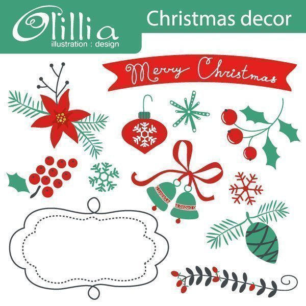 Christmas Decor Clipart  Olillia Illustration    Mygrafico