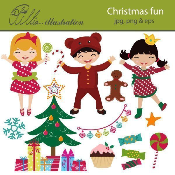 Christmas fun clipart  Olillia Illustration    Mygrafico